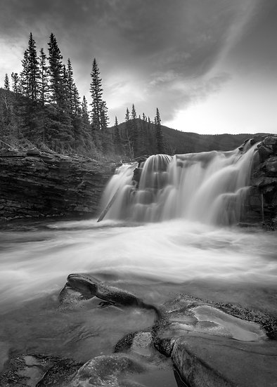 Sheep River Falls monochrome