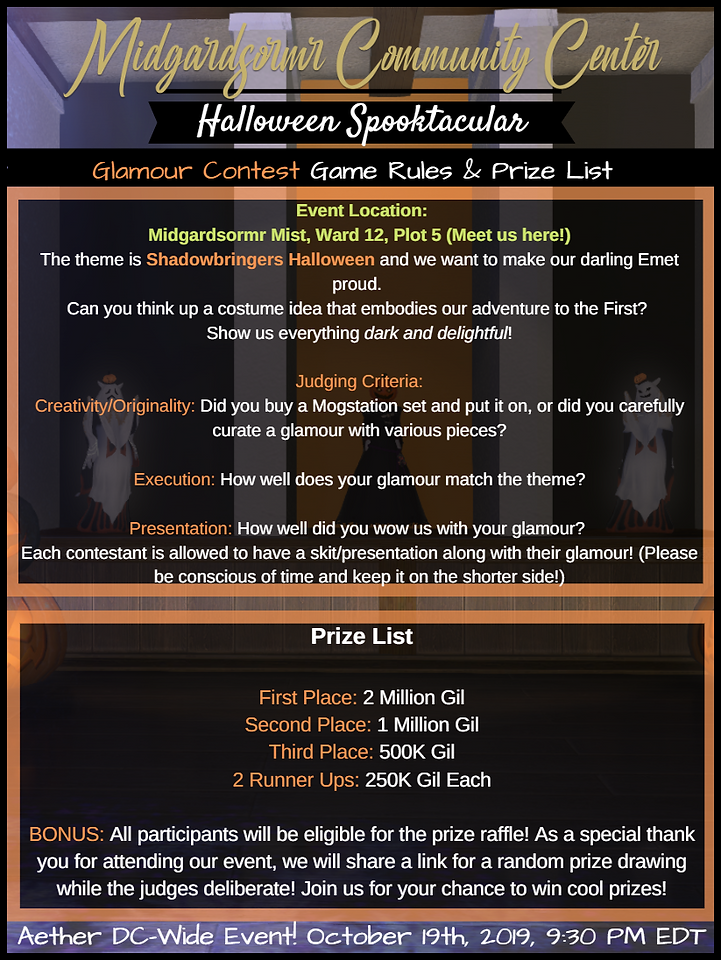Halloween 2019 Glam Contest Prize Flyer.