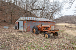 The Old tractor and barn