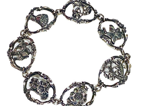 Vintage  Italian 1982 Silver Floral Braclet signed by FM