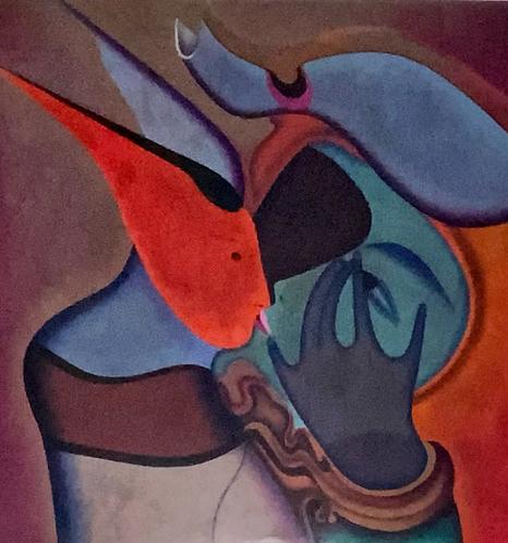 Le Baiser - The Kiss with Museum Custom Frame by Mihail Chemiakin