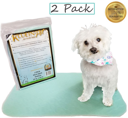 Kluein Pet Washable Pee Pads for Dogs, Washable Puppy Pads, Aqua 2-Pack (18x24)