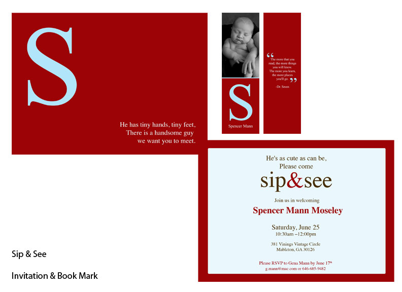 Sip and See Invite with Bookmark