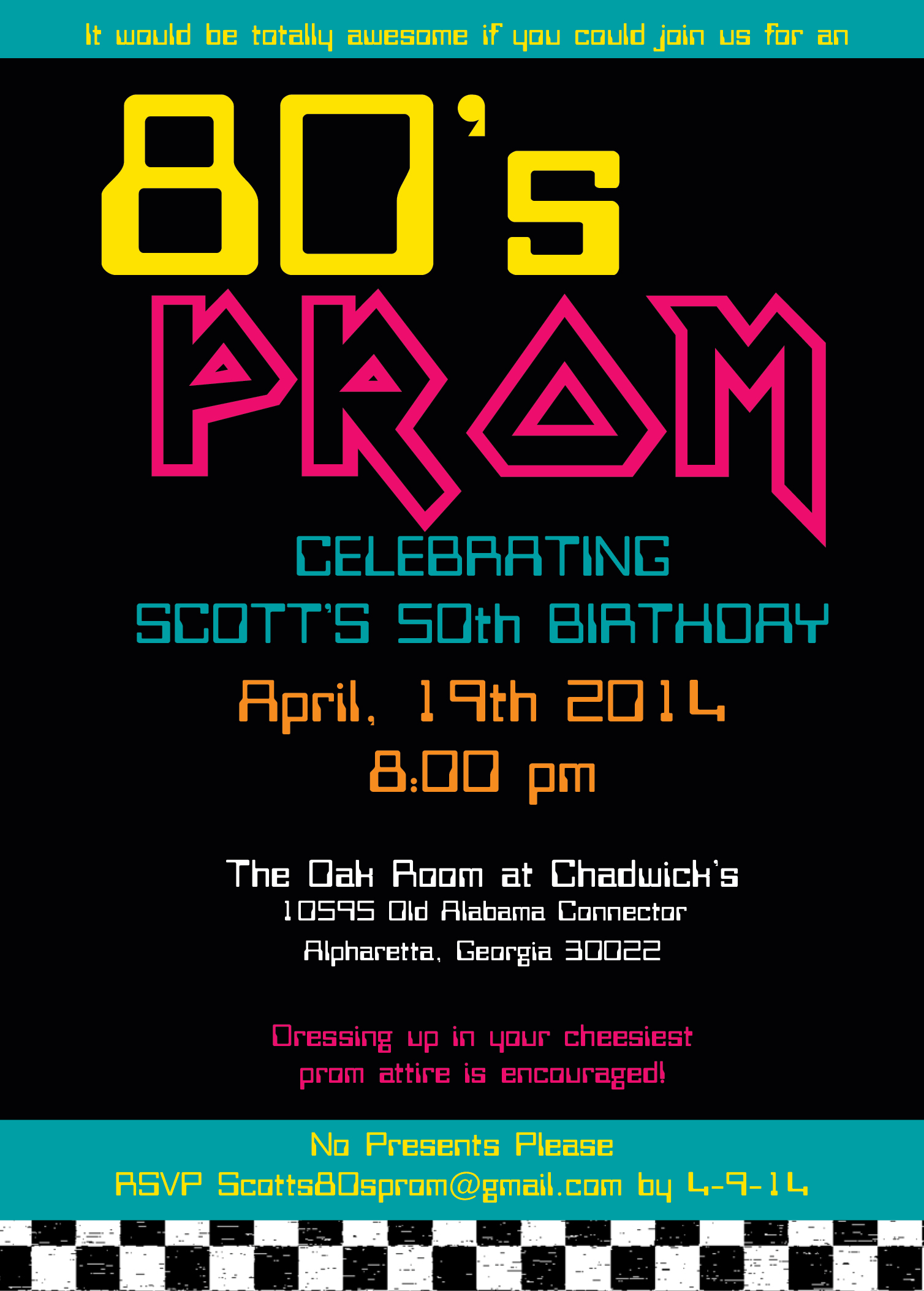 80's Birthday Invite