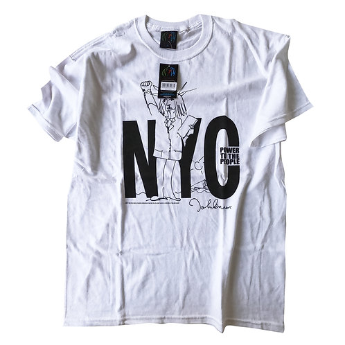 John Lennon Unisex Premium Tee: NYC Power To The People (Front & Back Print)