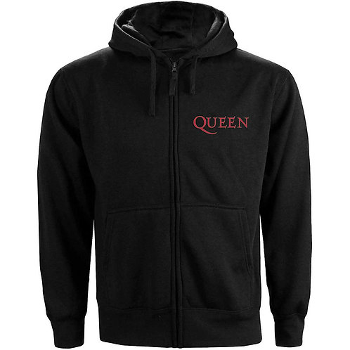 Queen Unisex Zipped Hoodie: Classic Crest (Front & Back Print)