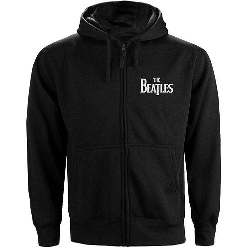 The Beatles Unisex Zipped Hoodie: Drop T Logo (Front & Back Print)