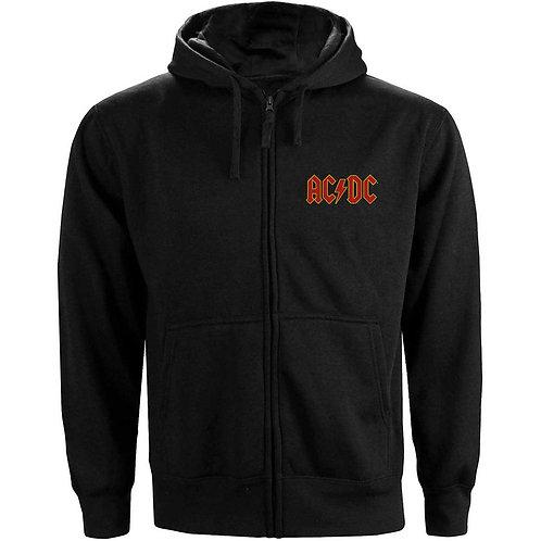 AC/DC Unisex Zipped Hoodie: Logo (Front & Back Print)