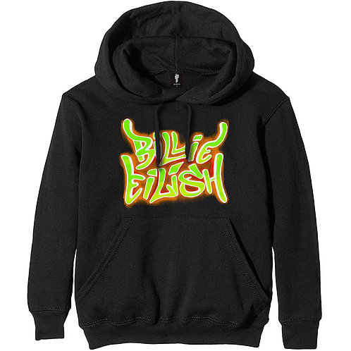 Billie Eilish Unisex Pullover Hoodie: Airbrush Flames (Front & Bac