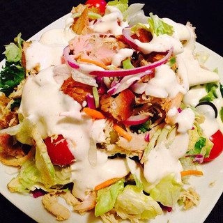 Papa J's BBQ has this garden salad that can be topped with chicken, pulled pork or a turke
