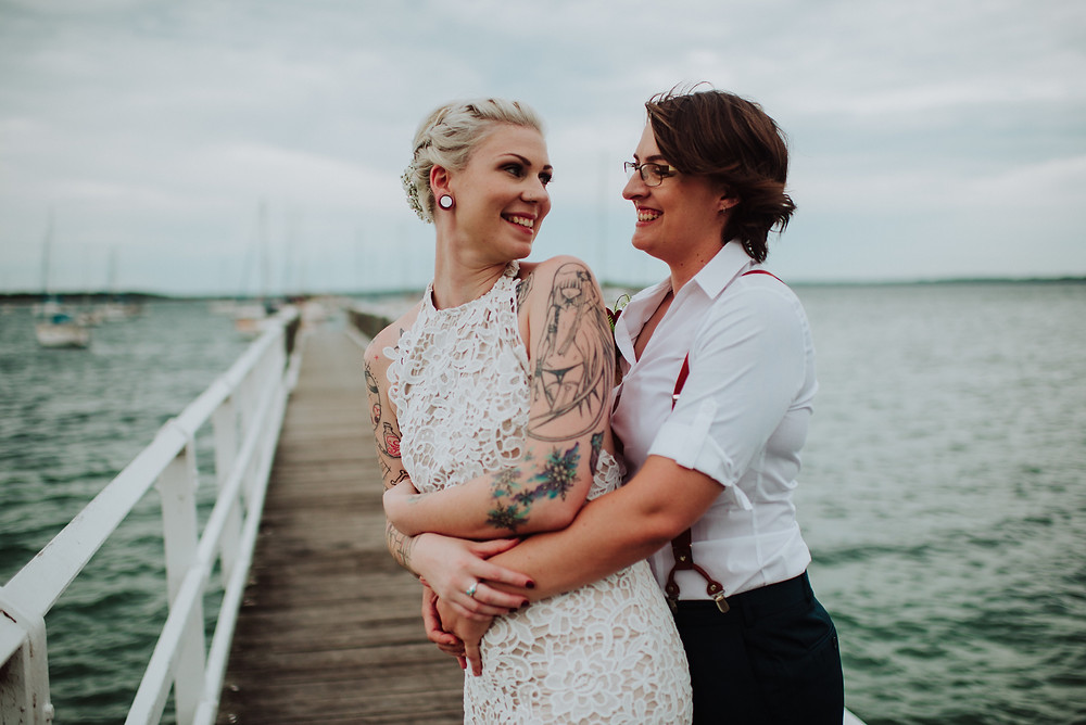 This Auckland lesbian wedding features in Dancing With Her, the world's first lesbian bridal magazine.