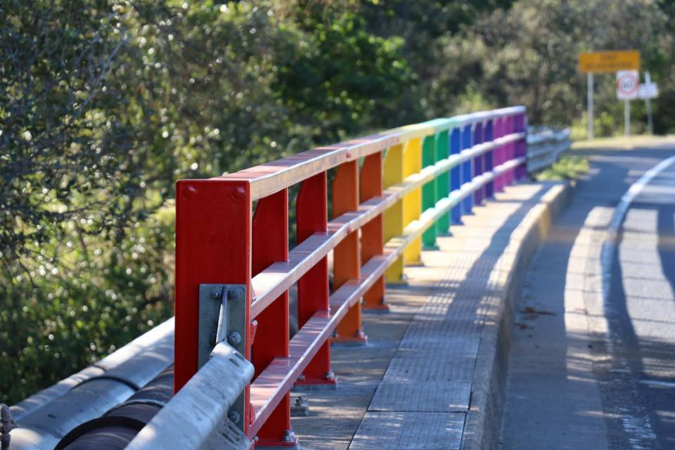 The rainbow bridge at Belongil Creek, Byron Bay. Everyoone is welcome in Byron.