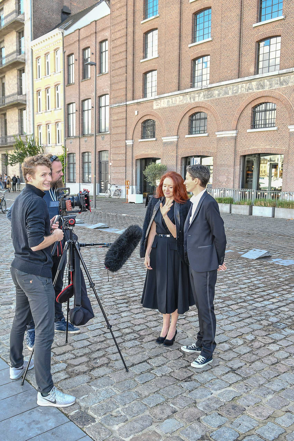 Lesbian art duo JF Pierets being interviewed for wedding 3 in their marriage equality project '22'.