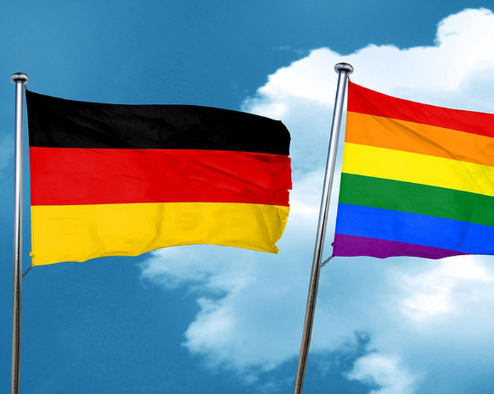 German flag & pride flag together as Germany achieves marriage equality and full adoption rights
