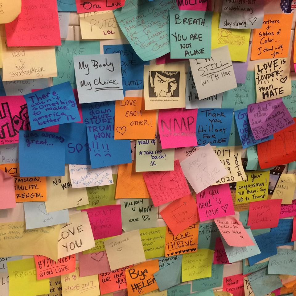'Subway Therapy' post-it note wall at Union Square Station in New York.