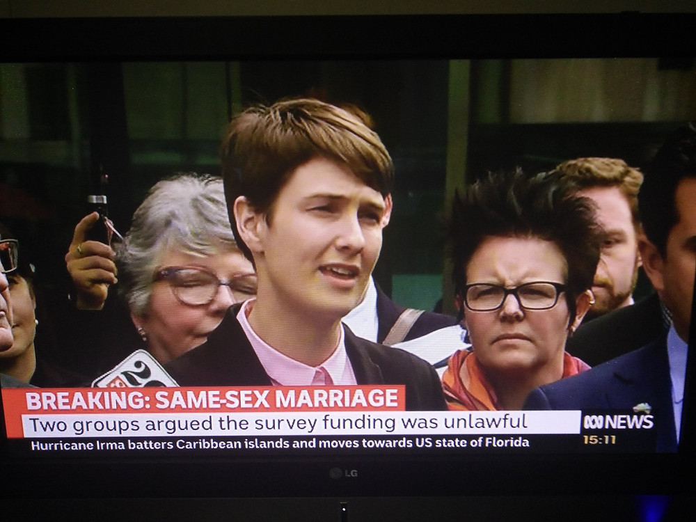 HRLC Lawyer Anna Brown Speaks outside court after High Court rejects challenges to the same-sex marriage postal survey