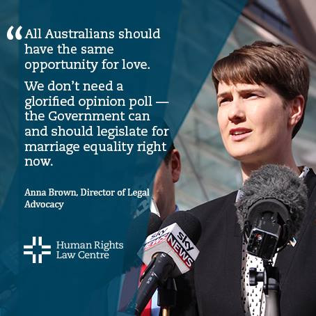 Lawyer Anna Brown speaks outside High Court challenge to the same-sex marriage postal survey