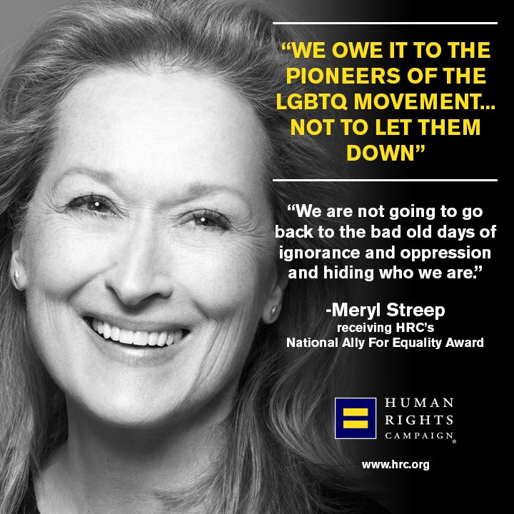 Merryl Streep received the HRC's National Ally For Equality Award and slammed Trump in her acceptance speech.