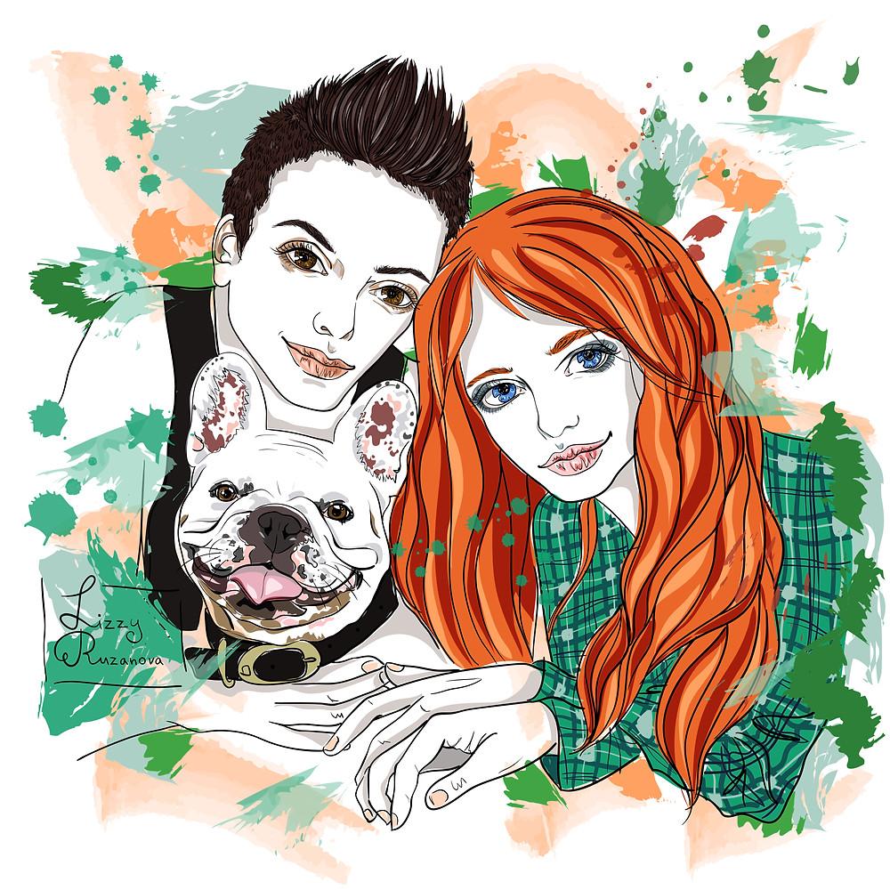 Alex and her girlfriend Frankie by Russian artist Elizaveta Ruzanova.