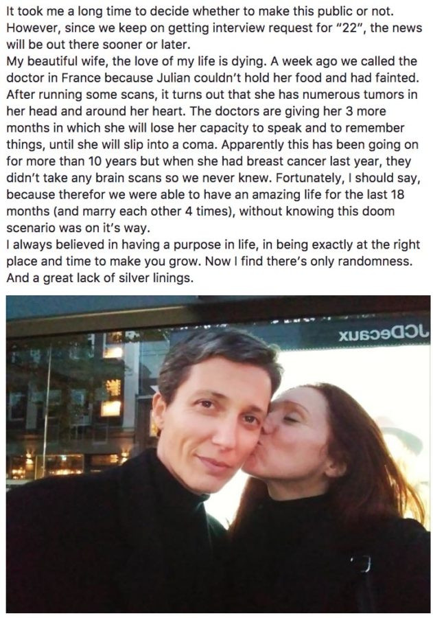 Fleur Pierets announced her wife Julian's battle with brain cancer on Facebook.
