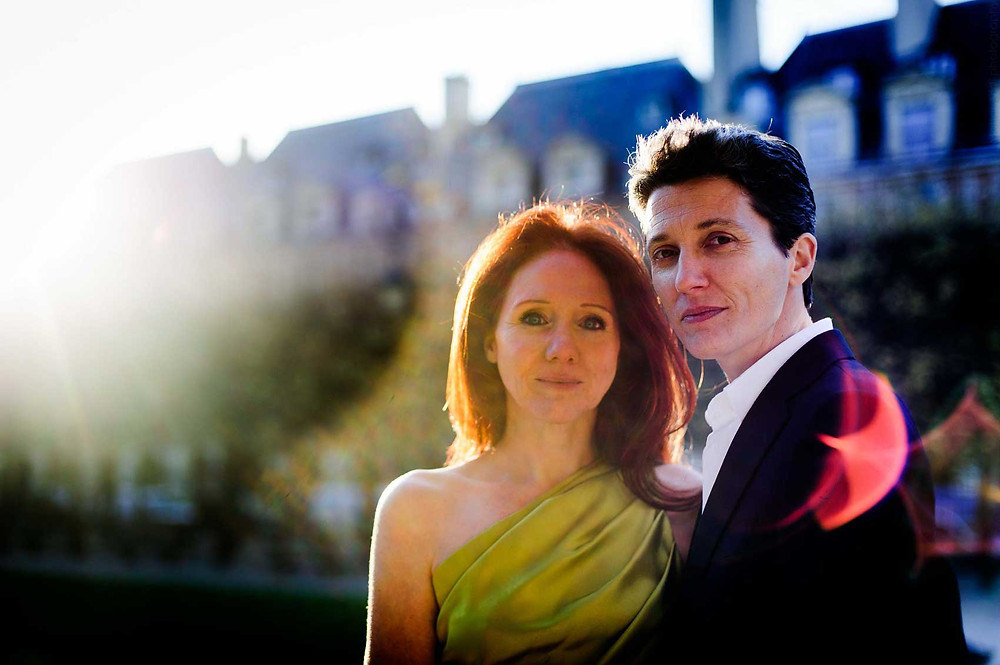 Lesbian couple and art duo JF Pierets having photos taken after their Paris wedding for 22 The Project.
