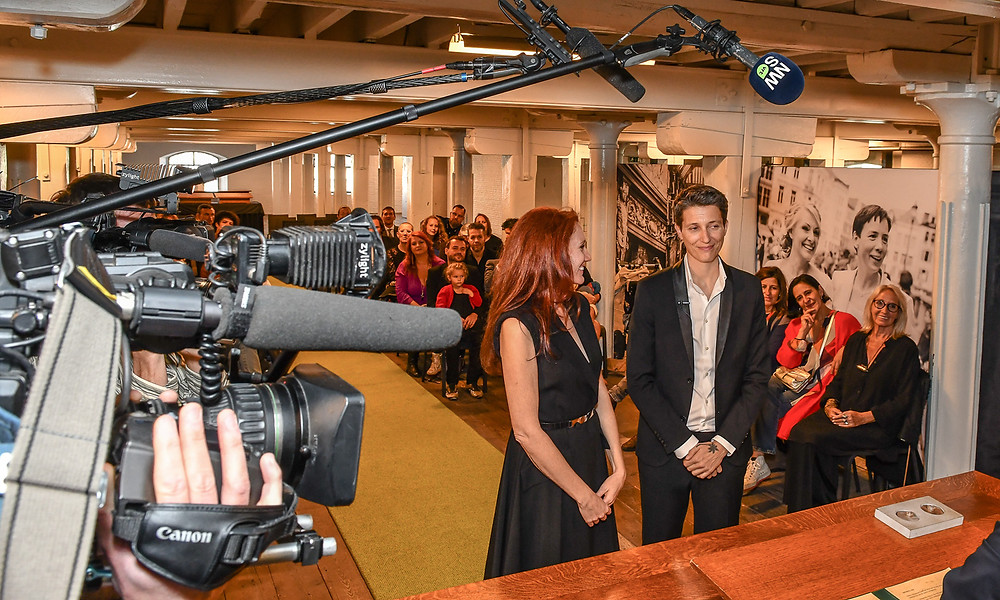Lesbian art duo JF Pierets say their vows at wedding no 2 for marriage equality project '22'.