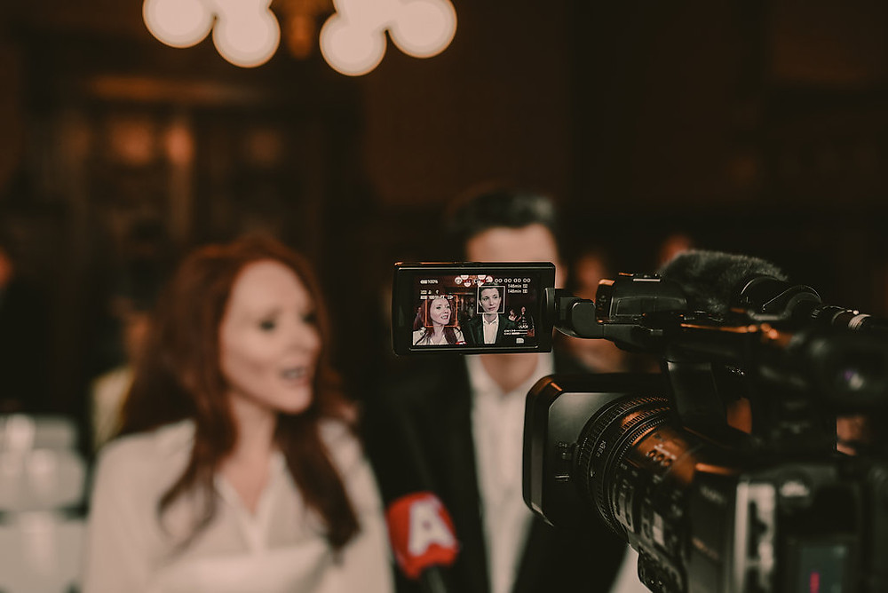 Lesbian art duo JF Pierets face the cameras at '22' project wedding no 2 in Amsterdam.