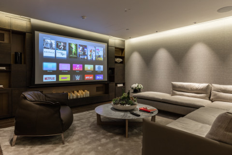 Media Room with drop down motorized screen