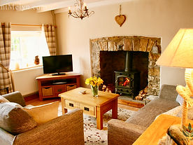 Living area of Nant Melyn Cottage, Wales