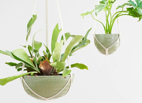 Macrame Hanging Planter Olive Large