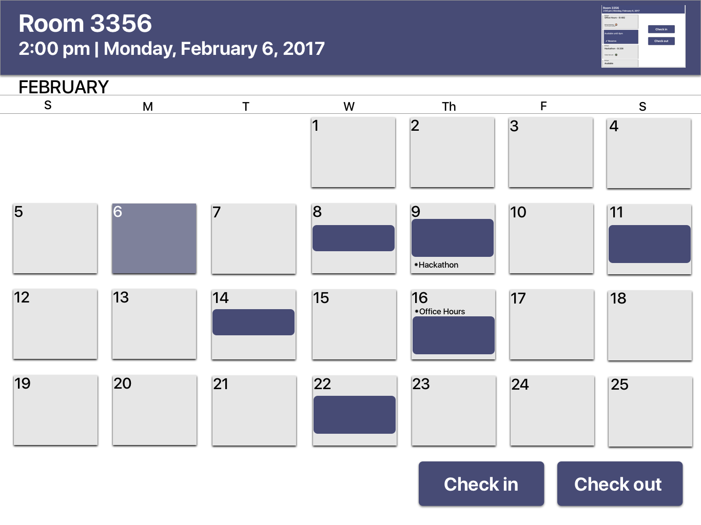 Monthly calendar view