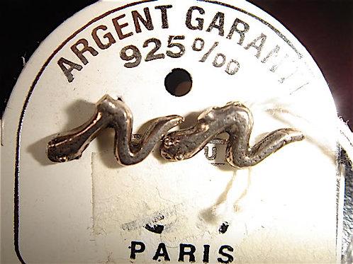 BOUCLE D'OREILLE SERPENT ARGENT VINTAGE 1970 NEUF