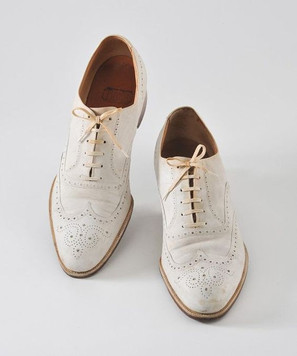 spacevintage,marseille,france,Chaussure Homme à lacet,suede shoes,dain blanc, oxford,wing toe vintage 1920