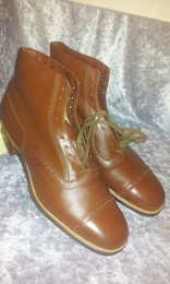 spacevintage,marseille,france,Chaussure, Bottines Homme à lacet marron, cap toe vintage 1920