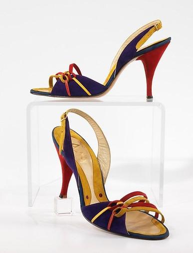 spacevintage,marseille,france,sandale muticolore,dain,cuir,vintage femme 1950