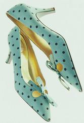 spacevintage,marseille,france,escarpin en soie,soirée,a pois,pointu,talon mi haut,vintage femme 1950