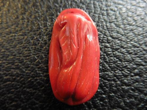 Pendentif CORAIL rouge véritable sculpté vieux stock neuf vintage 70