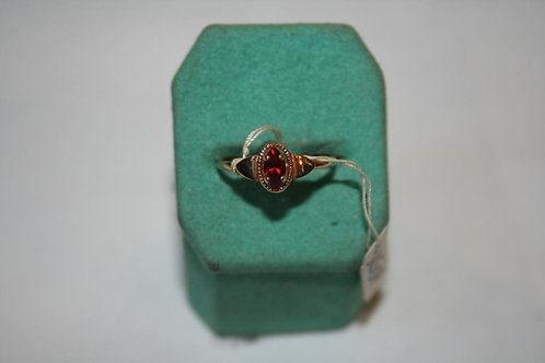 BAGUE ALLIANCE SOLITAIRE VINTAGE 70 PLAQUE OR ET RUBIS SYNTHETIQUE NEUF T.56