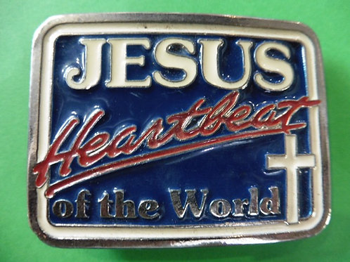 BOUCLE DE CEINTURE  USA JESUS HEART BEAT OF THE WORLD COLLECTOR VINTAGE