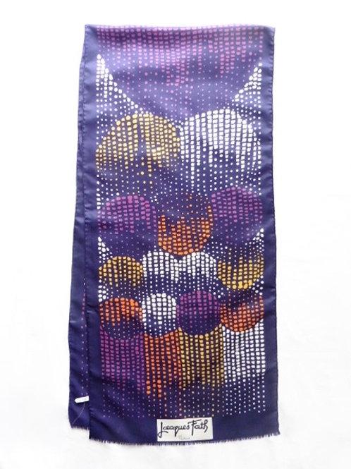 Foulard écharpe Jacques Fath en soie motif abstrait parfait état