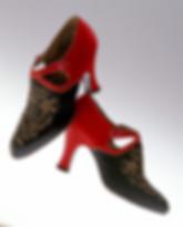spacevintage,marseille,france,Sandale noir et rouge brodée or soirée,talon bobine vintage 1920