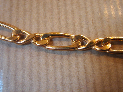 CHAINE PLAQUE OR MAILLE LARGE LONG 50 CM 21G VINTAGE NEUF