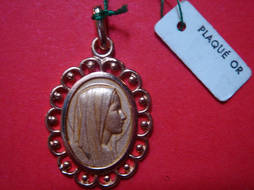 TRES BELLE MEDAILLE PLAQUE OR Vierge Marie VINTAGE 1960/70 NEUF/ NEW