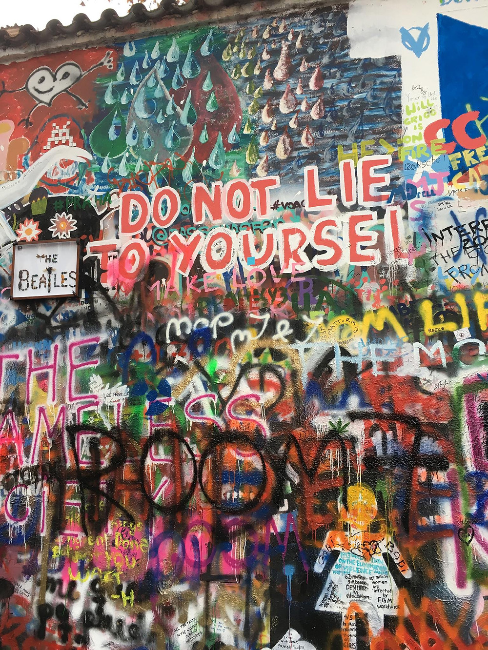 John Lennon Wall, awash with life messages
