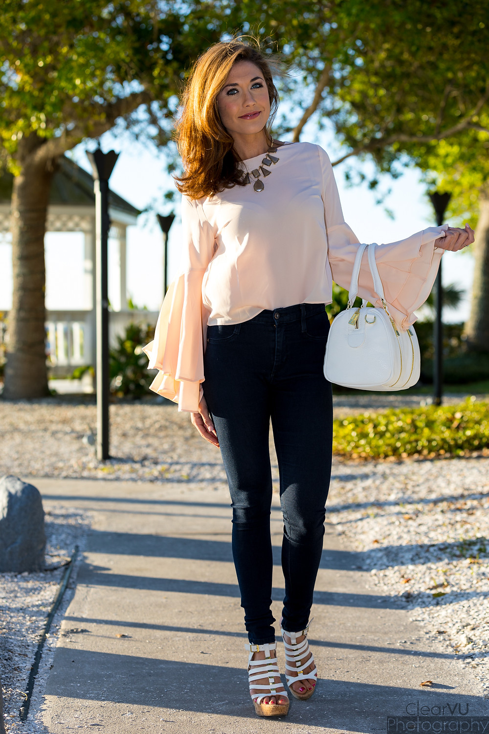 statement sleeve, bell sleeve, blush, bell sleeve blouse