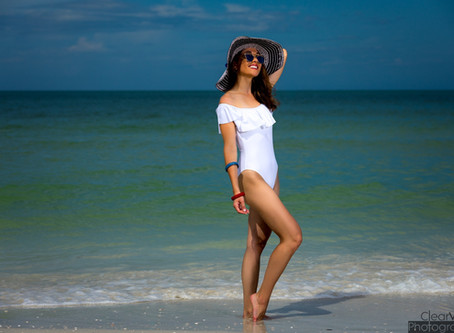 Off-the-Shoulder White Swimsuit