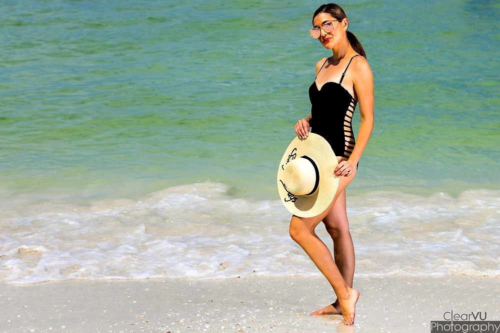 black swimsuit, one piece, cut-out swimsuit, swimwear, floppy hat