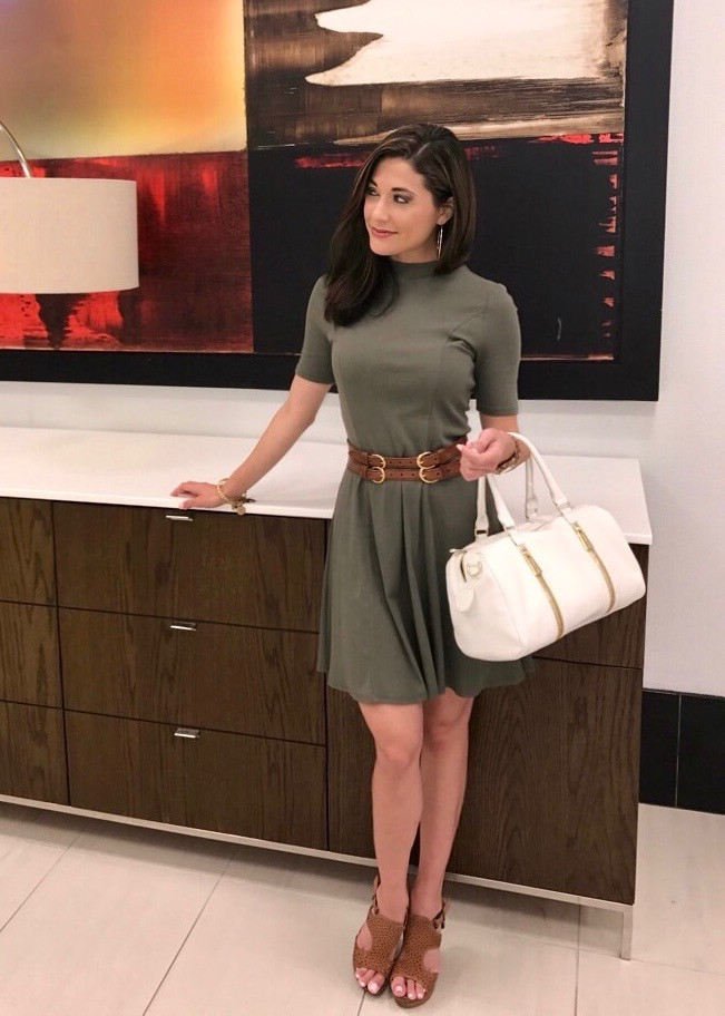 olive green, fall fashion, olive green swing dress