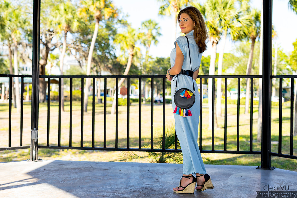 chambray dress, chambray, tassel purse, vacation, summer fashion