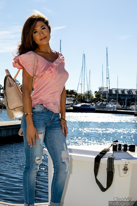 Livs Lookbook, Liv's Lookbook, distressed denim, ripped jeans, blush pink, wedges